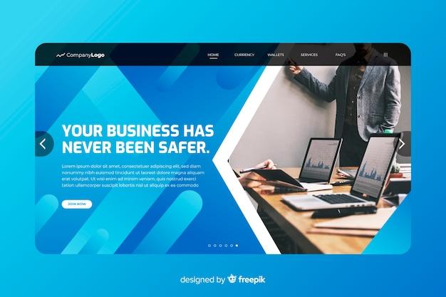 Página de inicio de negocios más segura con foto