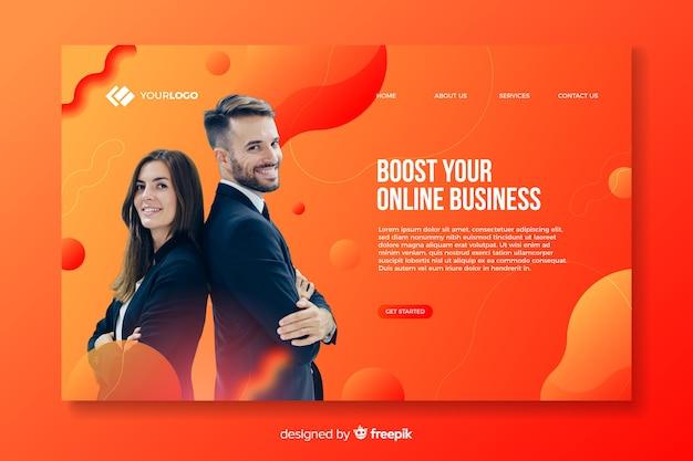 Página de inicio de negocios naranja con foto