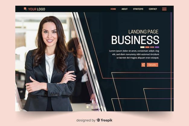 Página de inicio de negocios oscura con foto