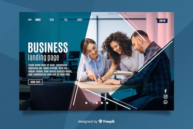 Página de inicio de negocios de trabajo en equipo