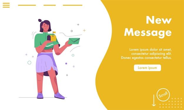 Página de inicio del nuevo concepto de mensaje