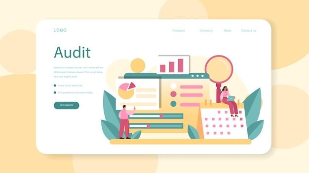 Página de inicio o banner web de auditoría de sitios web