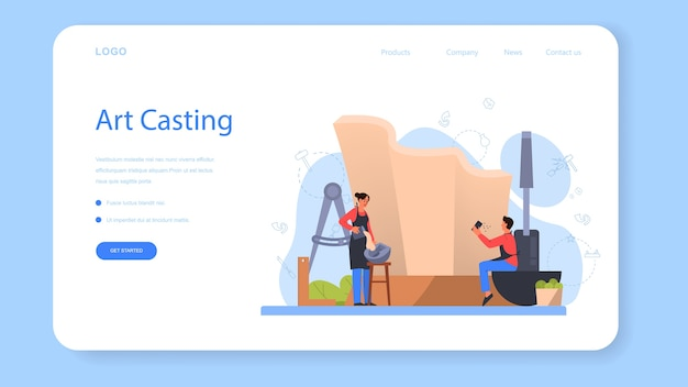 Página de inicio o banner web de casting de arte profesional