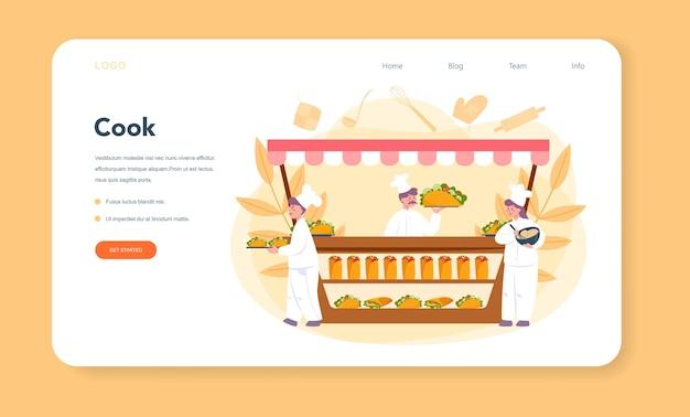 Página de inicio o banner web de comida callejera de shawarma