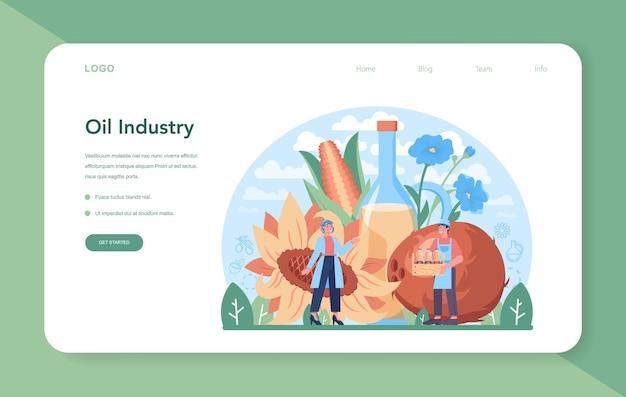 Página de inicio o banner web de la industria de producción o extracción de petróleo. aceite vegetal. ingrediente vegetariano ecológico para cocinar y producción no comestible. ilustración vectorial plana