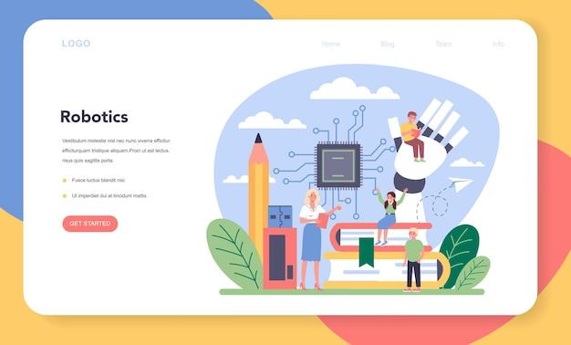 Página de inicio o banner web de materia escolar de robótica