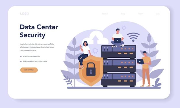 Página de inicio o banner web de seguridad cibernética o web