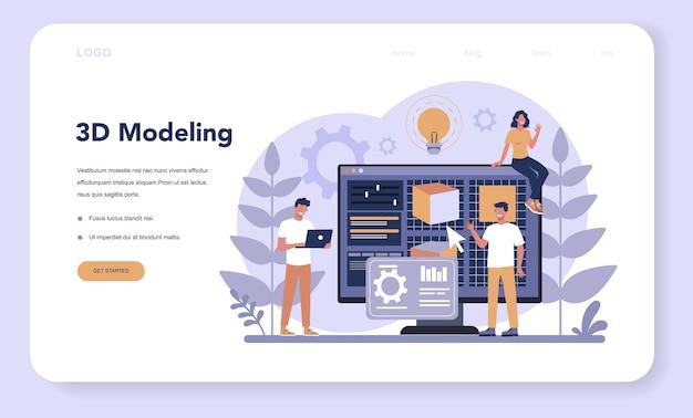 Página de inicio o banner web de tecnología de impresión 3d