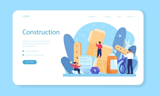 Página de inicio o banner web de temas escolares de modelado