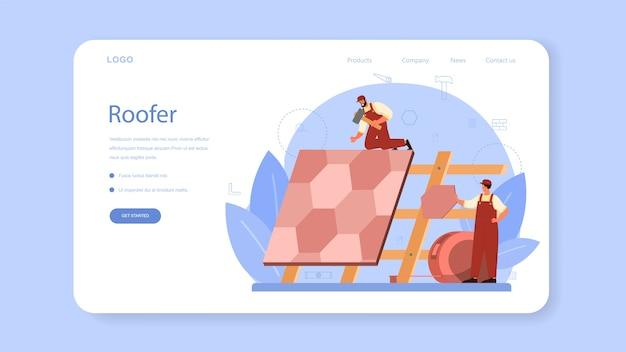 Página de inicio o banner web de trabajador de construcción de techo