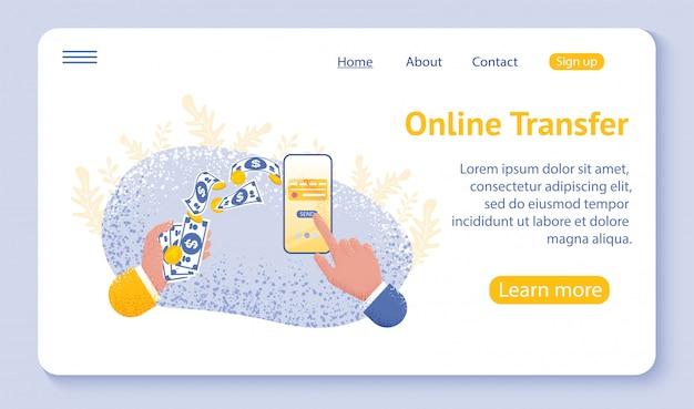 Página de inicio o plantilla web para el concepto de transferencia en línea con la mano que sostiene el teléfono inteligente y presione el botón enviar