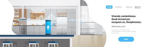 Página de inicio o plantilla web con ilustración sobre hogar inteligente, tecnología de reconocimiento de asistente activada por voz