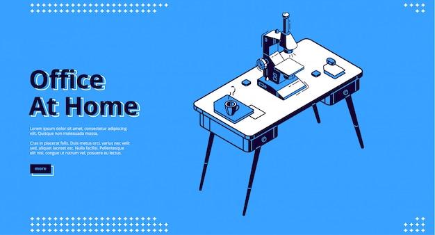 Página de inicio de la oficina en casa con microscopio