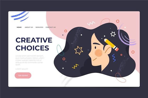 Página de inicio de opciones creativas planas orgánicas