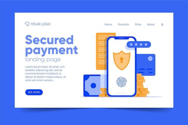 Página de inicio de pago seguro de plantilla de diseño plano