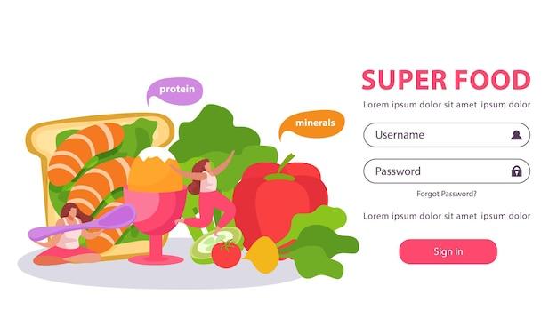 Página de inicio plana de alimentos saludables y súper con formulario para ingresar nombre de usuario y contraseña con imágenes de doodle