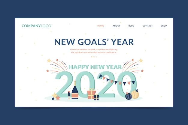 Página de inicio plana de año nuevo con guirnaldas y regalos