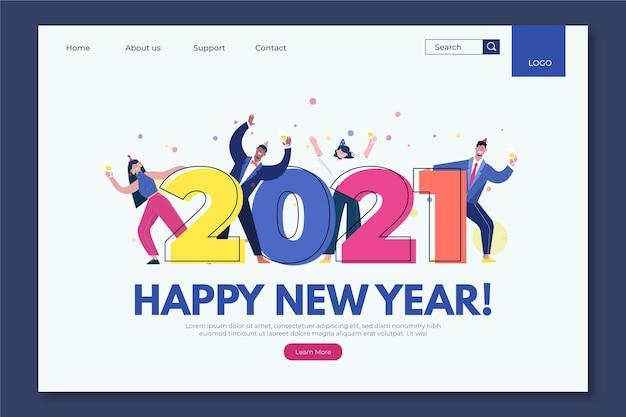 Página de inicio plana de año nuevo