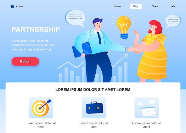 Página de inicio plana de asociación. página web de apretón de manos de empresarios.