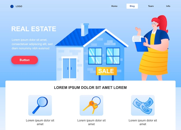 Página de inicio plana de bienes raíces. mujer inmobiliaria vendiendo página web de la casa.