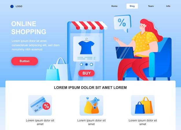 Página de inicio plana de compras en línea. mujer de compras por página web portátil.