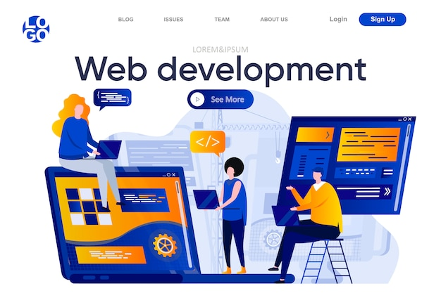 Página de inicio plana de desarrollo web. equipo creativo de diseñadores y desarrolladores trabajan juntos ilustración. desarrollo completo de la pila, composición de páginas web de ingeniería de software con personajes