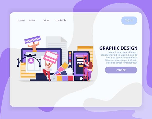 Página de inicio plana de diseño gráfico con enlaces y conexión de botón violeta bit