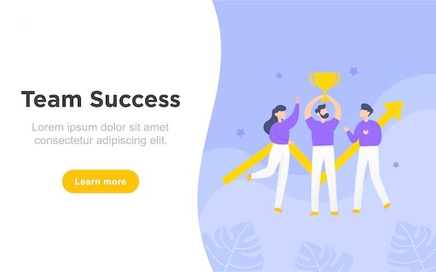 Página de inicio plana moderna del éxito del equipo