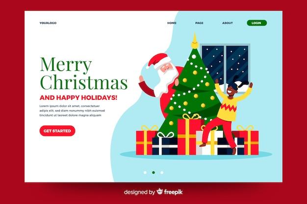 Página de inicio plana de navidad con árbol de navidad y regalos