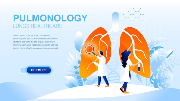 Página de inicio plana de neumología con encabezado, plantilla de banner.