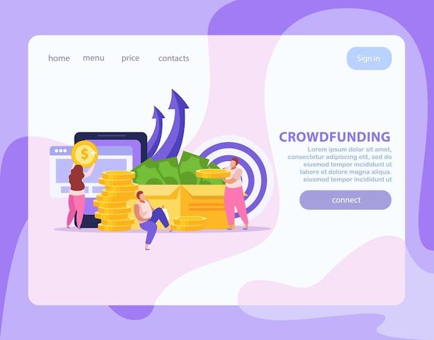 Página de inicio plana con personas que realizan crowdfunding y recaudan dinero para la puesta en marcha.