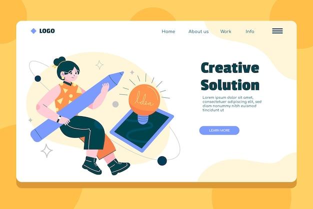 Página de inicio plana de soluciones creativas.