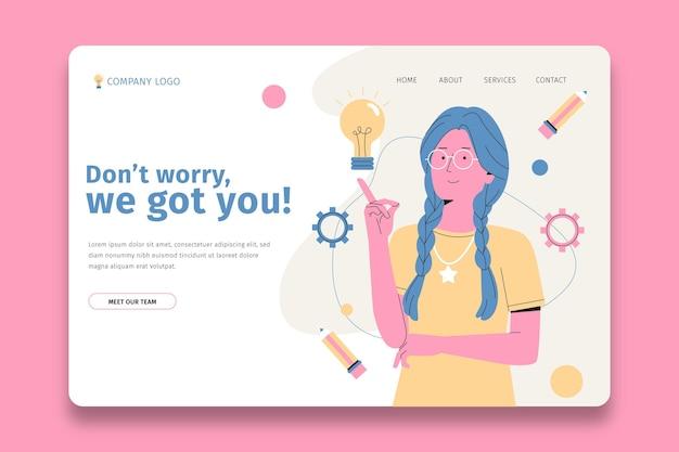 Página de inicio plana de soluciones creativas