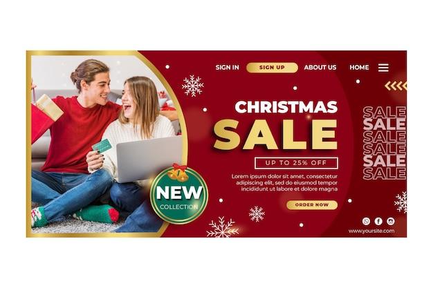 Página de inicio de plantilla de anuncio de ventas navideñas