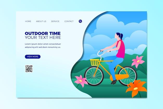 Página de inicio de plantilla de deporte al aire libre de diseño plano