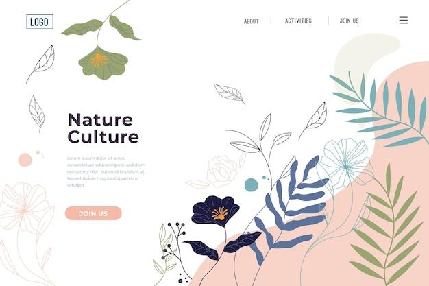 Página de inicio de plantilla dibujada a mano naturaleza
