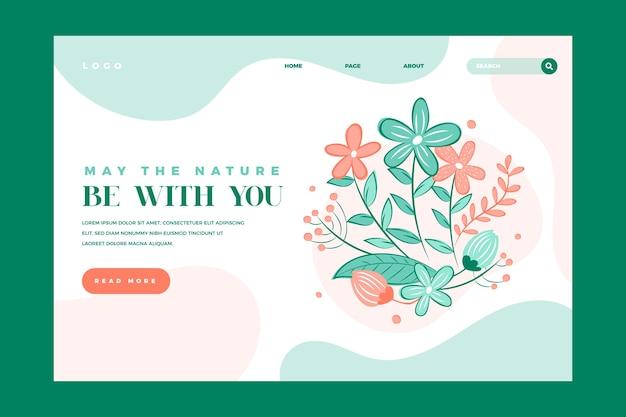 Página de inicio de plantilla naturaleza dibujada a mano