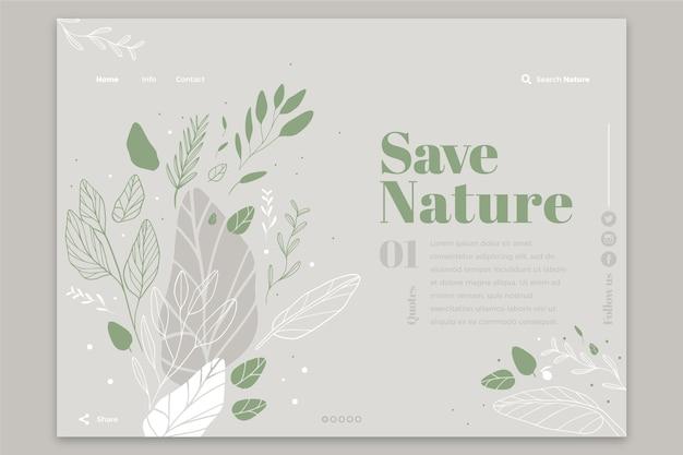 Página de inicio de plantilla de naturaleza dibujada a mano