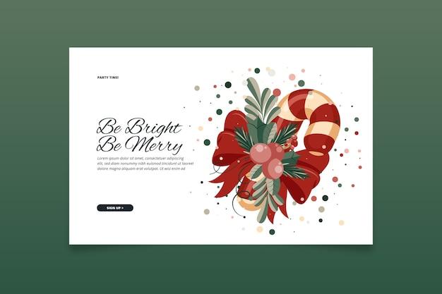 Página de inicio de plantilla de navidad de diseño plano