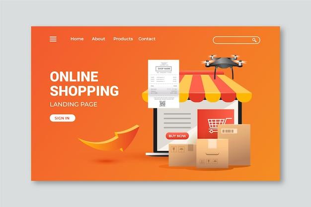 Página de inicio de plantilla realista de compras en línea