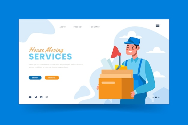 Página de inicio de plantilla de servicios de mudanza de casa