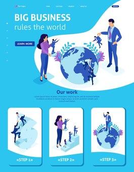Página de inicio de plantilla de sitio web isométrica big boss elige personas pequeñas y las coloca en todo el mundo. 3d adaptable.