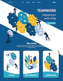 Página de inicio de plantilla de sitio web isométrica del equipo de negocios trabajando coherentemente.
