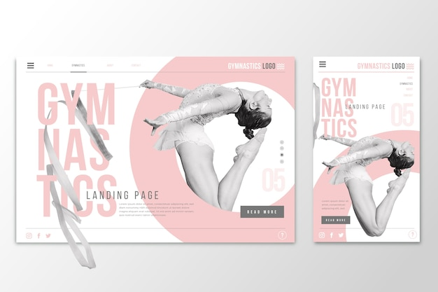 Página de inicio de plantilla web para gimnasia