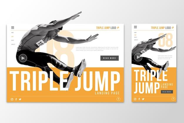 Página de inicio de plantilla web para salto triple
