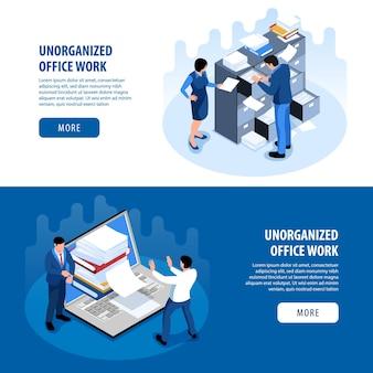 Página de inicio de productividad del espacio de oficina desorganizado