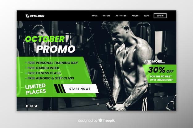 Página de inicio de promoción de gimnasio con foto