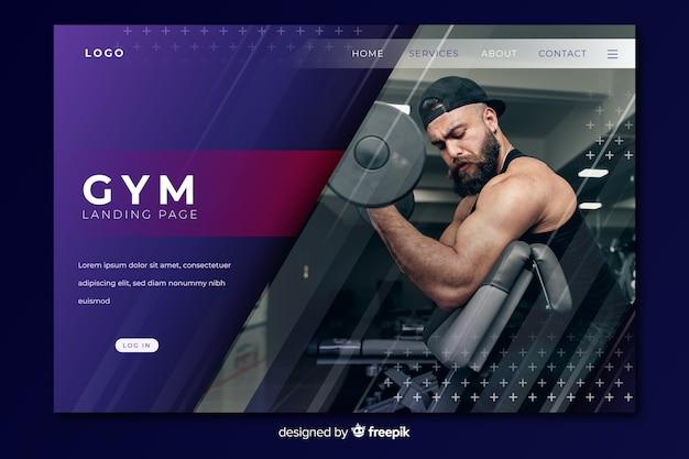 Página de inicio de promoción de gimnasio con imagen