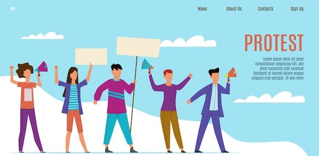 Página de inicio de protesta. activistas que protestan con altavoces, gente con pancartas.