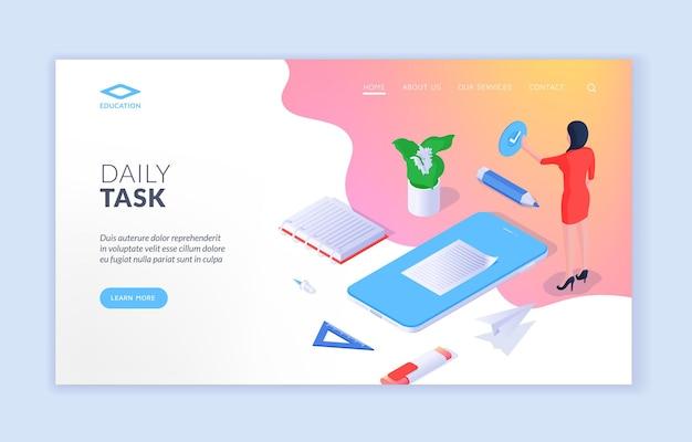 Página de inicio de publicidad de aplicaciones móviles de tareas diarias